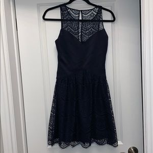 Purple a-line dress for wedding guests